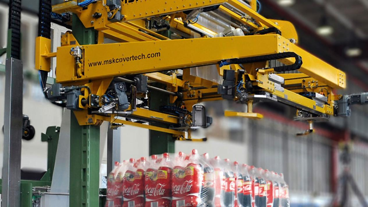Stretch hood machine MSK Tensiontech: flexible stretch wrapping for high-performance beverage containers
